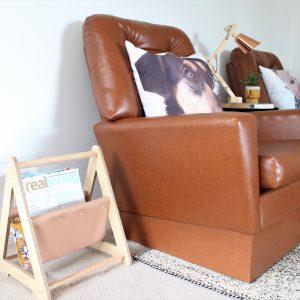 Vegan Leather & Birch Plywood Magazine Racks with orange blossom print fabric lining