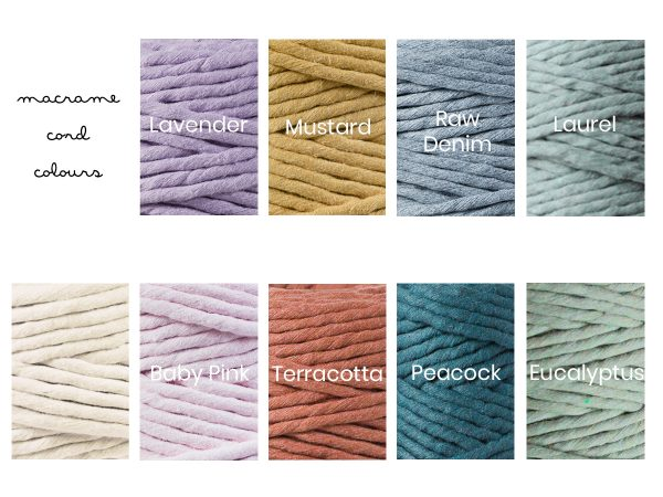 Macrame cord colour chart