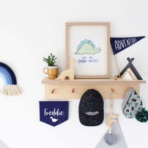 Copper Peg Shelf styled with boys bedroom decor