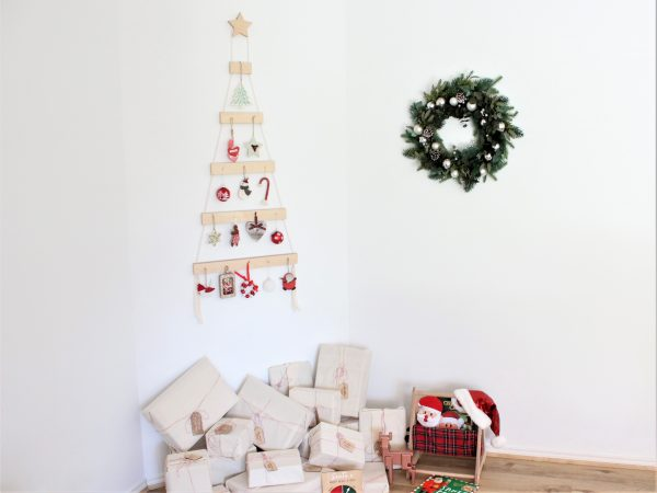 Wall hanging Christmas tree made from irch plywood and copper nails