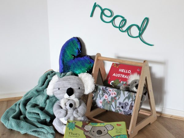 read knitted neon sign in green