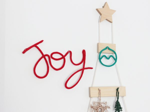 Knitted Neon Christmas Word - Joy