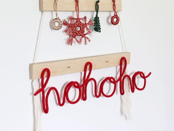 Knitted Neon Christmas Word - Ho Ho Ho
