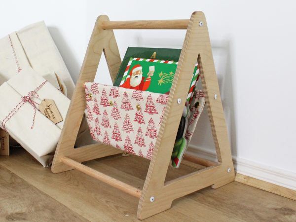 Christmas Book Caddy in natural fabric with red trees