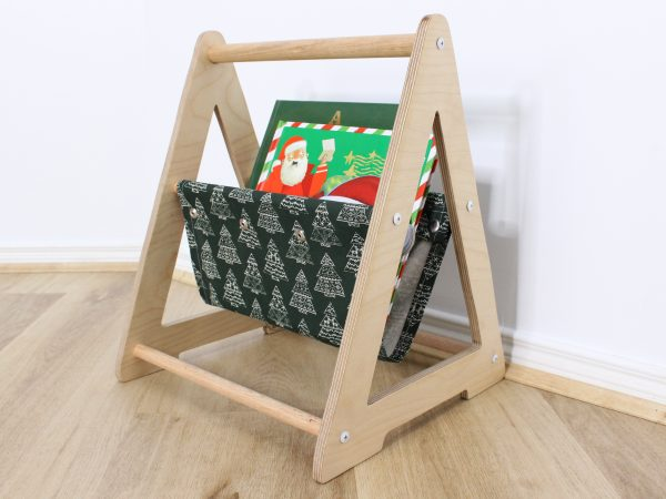 Christmas Book Caddy in green fabric with white trees
